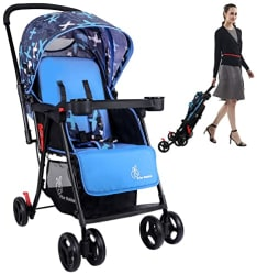 R for Rabbit Lollipop Plus Baby Stroller and Pram for Kids|New Born| Infants|Boys|Girls of 0 to 3 Years (Blue)