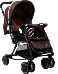 1st Step Cloudie Baby Stroller With 5 Point Safety Harness And Reversible HandleBar Stroller Cum Rocker 3, Brown