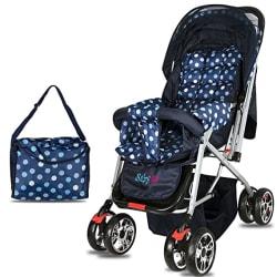 BabyGo Delight Reversible Baby Stroller & Pram with Mosquito Net, Mama Diaper Bag & Wheel Breaks (Polka Blue)