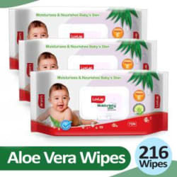 LuvLap Baby Moisturising Wipes with Aloe Vera,72 Wipes/pack, with lid 3 Wipes