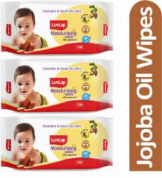 LuvLap Baby Moisturising Wipes with Jojoba Oil, 72 Wipes/pack 3 Wipes