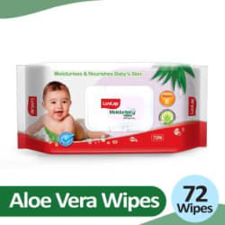 LuvLap Baby Moisturising Wipes with Aloe Vera, 72 wipes/pack with Lid