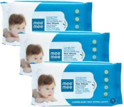 MeeMee Caring Baby Wet Wipes with Lemon & Aloe Vera Fragrance - 72 pcs (Pack of 3) 216 Wipes