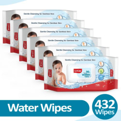 LuvLap Baby 99% Pure Water Wipes, 72 wipes/pack, Pack of 6 Combo(6 Wipes)