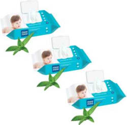 MeeMee Caring Baby Wet Wipes with lid, 72 Pcs (Aloe Vera, Pack of 3) 3 Wipes