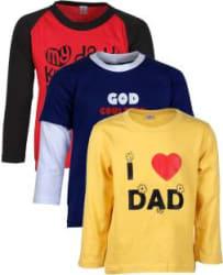 Gkidz Boys Printed Cotton Blend T Shirt Yellow, Pack of 3