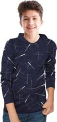 Tripr Boys Printed Pure Cotton T Shirt Dark Blue, Pack of 1