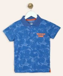 Miss & Chief Boys Printed Cotton Blend T Shirt Blue, Pack of 1