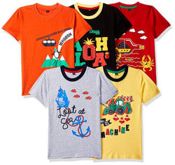 T2F Boy s Plain Regular fit T-Shirt (Pack of 5)