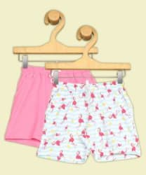 Miss & Chief Short For Girls Casual Printed, Solid Pure Cotton Multicolor, Pack of 2