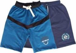 ISKAVE Short For Boys Sports Self Design Cotton Fleece Blend Black, Pack of 2