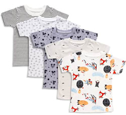 minicult Cotton Kids Half Sleeve Tshirt with Round Neck (Pack of 5) (Multicolor)(Assorted Colors & Prints)