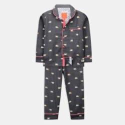 Cherry Crumble California Kids Nightwear Boys & Girls Printed Cotton Blend Grey Pack of 1
