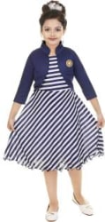FTC FASHIONS Girls Midi/Knee Length Festive/Wedding Dress Blue, 3/4 Sleeve
