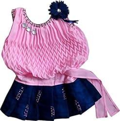 BENKILS Girls Knee Length Dress (Ba200146_Pink_3-6 Months)