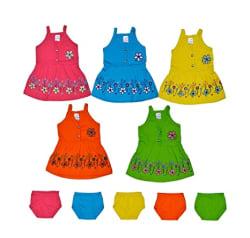 Sathiyas Baby Girls Knee Length Dress (asvTK153_Multicolored_0-6 Months)