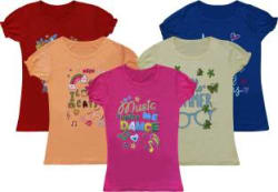 Rawpockets Girls Printed Pure Cotton T Shirt Multicolor, Pack of 5