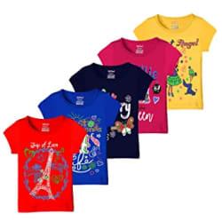 Kiddeo Girls T-Shirt (Pack of 5)