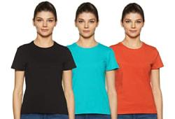 Amazon Brand - Symbol Women s Solid Regular Fit Half Sleeve T-Shirt (Combo Pack of 3)