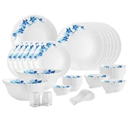 Cello Opalware Dazzle Blue Swirl Dinner Set, 35PCs, White
