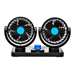 Trest Car Fan 12V 360 Degree Rotatable Dual Head 2 Speed Quiet Strong Dashboard Auto Cooling Air Fan for All Auto Vehicles