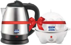 Kent 16056 & 16053 Electric Kettle with Egg Cooker(1.2 L, Black, White)