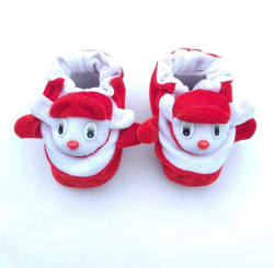LMN Child Care Booties Toe to Heel Length - 6 cm, Red, White