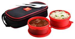 Cello Max Fresh Super Polypropylene Lunch Box Set, 300ml/24cm, Set of 2, Red