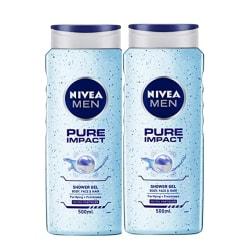 NIVEA Men Shower Gel, Pure Impact Body Wash, 250ml And NIVEA Body Lotion, Whitening Even Tone UV Protect, 200ml