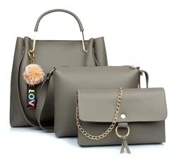Mammon Women s Handbag & Sling Bag (Set of 3) (3LR-bib-Grey_Grey)
