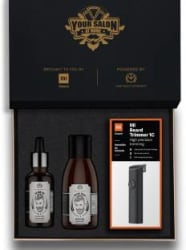 The Man Company Beard Kit with Mi Beard Trimmer 1C (Your Salon at Home) Runtime: 60 min Trimmer for Men Black