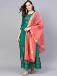 Jaipur Kurti Green Embroidered Kurta Skirt Set With Dupatta