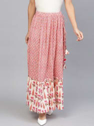 Jaipur Kurti Pink Cotton Floral Print Skirt