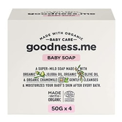 goodness.me Certified Organic Baby Soap | Paediatrician Certified | for Infants and Newborns (ECOCERT GREENLIFE Certified), Pack of 4 (50g Each)