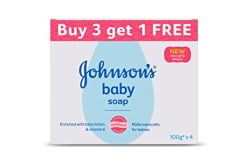 Johnson s Baby Soap For Bath Combo Offer Pack, 100g (Buy 3 Get 1 Free)