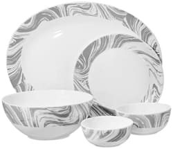 Larah by Borosil - Moon Series, Marble 27 Pieces Opalware Dinner Set, White