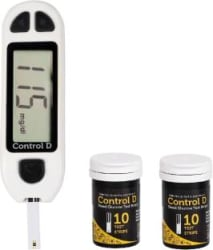 Control D White Sugar Testing Meter with 20 Strips Glucometer White