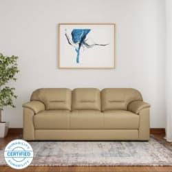 Muebles Casa Croma Leatherette 3 Seater Sofa Finish Color - Beige