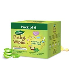 Dabur Baby Wipes: Soft Moisturizing Wet Wipes enriched with baby loving ayurvedic herbs - 80 Wipes X Pack of 6