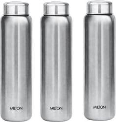 Milton Aqua Stainless Steel Fridge Water Bottle 930 ml, Set Of 3, Silver 930 ml Bottle Pack of 3, Silver, Steel