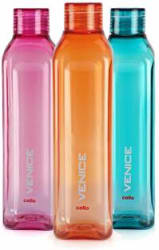 Cello Venice Plastic Water Bottle Set, 1 Litre, Set of 3, Color may vary 1000 ml Bottle Pack of 3, Multicolor, Plastic
