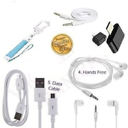 KSJ Combo of BW Selfie Stick, Aux Cable, Data Cable, Otg Cable and Universal Handfree (Assorted Colors)