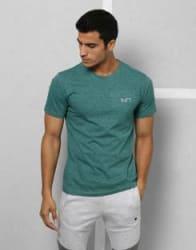 Metronaut Athleisure Solid Men Round Neck Green T-Shirt