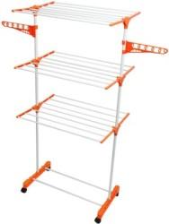 Bathla Mobidry 3 Tier Stainless Steel Floor Cloth Dryer Stand(Orange, White, Pack of 1)