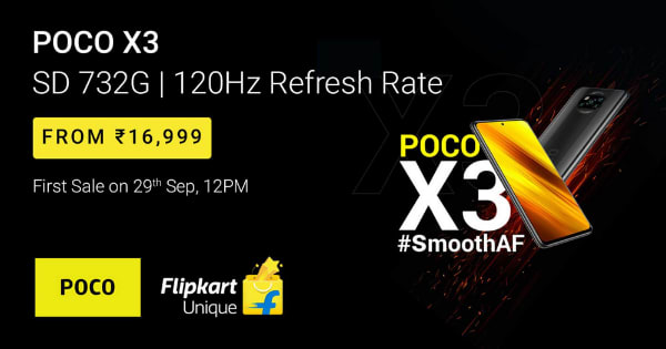 Poco X3 | From Rs. 16,999 | First Sale On 29th sept, 12PM on Flipkart