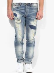 Blue Mid Rise Regular Fit Regular Fit Jeans (Mike)