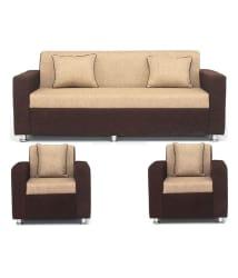 Bls Tulip Brown & Cream 3+1+1 Seater Sofa Set