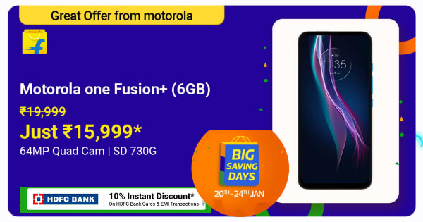 Moto One Fusion Plus | Just Rs. 15,999 | Shop Now.