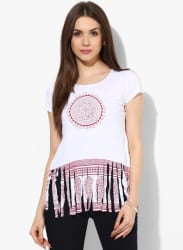 White Knitted Printed Top Red Hem Print