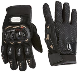 Probiker Leather Motorcycle Gloves (Black, L)